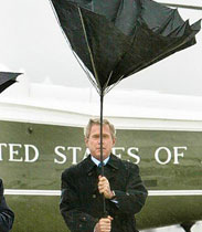 撑伞的布什