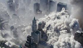 美国911恐怖袭击当日全景照片